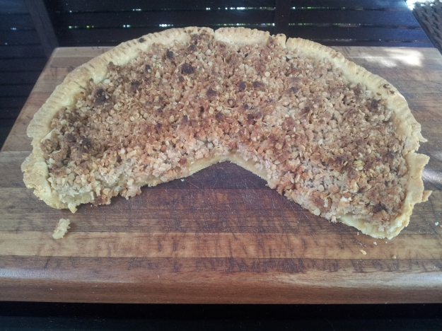 The wonderful flavours, shortness of pastry and texture contrast of the apples and crumble make this pie a winner. Highly recommended.